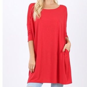 Tops - 3/4 Sleeve Dolman Top with Pockets